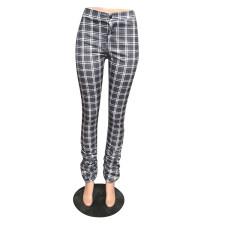 Plaid Print Ruched Mid-Waist Casual Pants LLF-8838