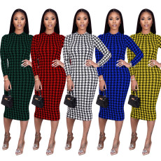 Houndstooth Print Long Sleeve Midi Dress TR-1098