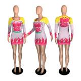 Plus Size Sexy Printed Long Sleeve Bodycon Mini Dress YFS-3645