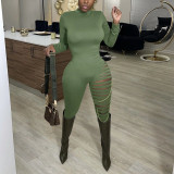 Sexy Long Sleeve Hole Jumpsuits With Chain YF-9813