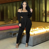 Sexy Off Shoulder Ruched Long Sleeve 2 Piece Sets YF-9815