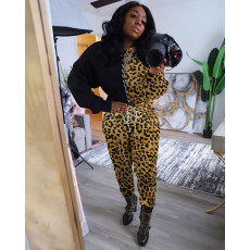 Plus Size Camo Leopard Print Lace Up Two Piece Sets MTY-6350-3