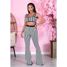 Houndstooth Print Crop Top Flared Pants 2 Piece Sets MEM-8326