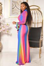 Fashion Rainbow Gradient Zipper Flared Sleeve Maxi Dress CQF-935