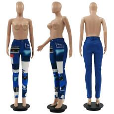 Fashion Printed Patchwork Denim Mid Waist Pants LSF-9066