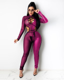 Sexy Mesh Patchwork Lace Up Hollow Jumpsuits ZSD-0376