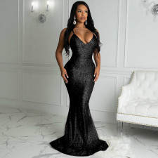 Plus Size Backless Sexy Deep V-neck Strap Mermaid Maxi Dress  QYF-5039