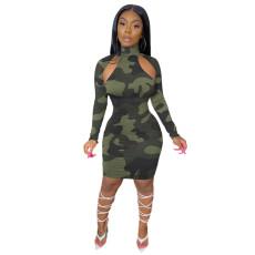 Fashion Camouflage Print Long Sleeve Slim Dress YUF-9055