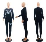 Fashion PINK Letter Print Long Sleeve Pants Two Piece Set OXF-8017