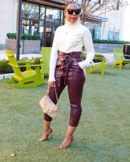 Casual Fashion PU Leather Nine-tenth Pants With Belt OLYF-6032