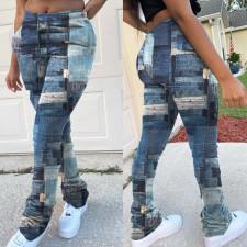 Fashion Imitation Denim Print Drawstring Stacked Pants YFS-3618