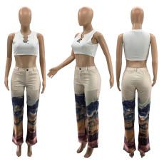Casual Printed Mid Waist Straight Long Pants SZF-9007