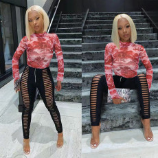 Sexy Slim Printed Long Sleeve Top And Pants Two Piece Set TMF-8010