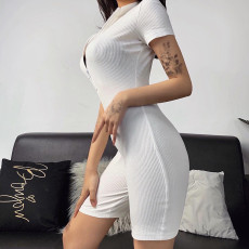 Short Sleeve Tight Zip Ribbed Rompers FL-93387-2