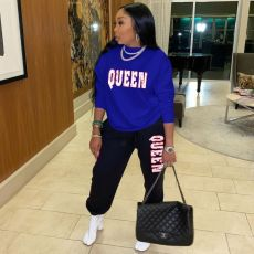 Plus Size Queen Letter Print Long Sleeve Pants Two Piece Set OYF-8235