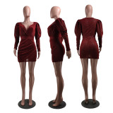 Fashion Sexy V-neck Puff Sleeve Mini Dress ZKF-1052
