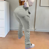 Plus Size Printed Casual Drawstring Stacked Sweatpants NSFF-8026