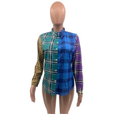 Fashion Plaid Print Long Sleeve Shirt QSF-5032