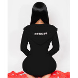 Sexy Letter Embroidered Hooded Long Sleeve Jumpsuit ATDF-5219