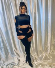 Personality Sexy Ripped Hole Long Sleeve Two Piece Set ANNF-6042
