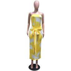 Tie Dye Print Off Shoulder Split Maxi Dress OD-68303