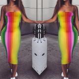 Sexy Rainbow Striped Strapless Bodycon Midi Dress RUF-8178