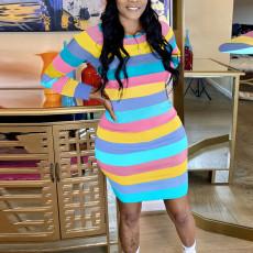 Coloful Striped Long Sleeve Mini Dress YD-8360
