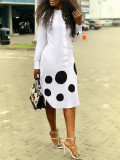 Polka Dot Print Long Sleeve Midi Dress OD-68254