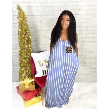 Plus Size Sexy Striped V Neck Pocket Slip Maxi Dress YFS-3659