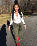 Plus Size Fashion Zip Rib Slim Long Sleeve Top MTY-6665