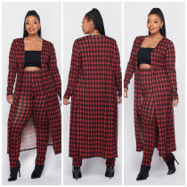 Plus Size Houndstooth Print Long Cloak+Pants 2 Piece Sets XMY-9293