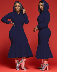 Solid Hooded Long Sleeve Mermaid Midi Dress FOSF-8034