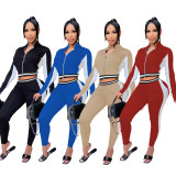 Casual Sports Long Sleeve Zipper 2 Piece Pants Set FOSF-8035