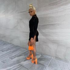 Sexy Long Sleeve Black Mini Dress FOSF-8021