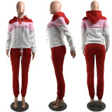 Casual Patchwork Hoodie Two Piece Sets WZ-8359