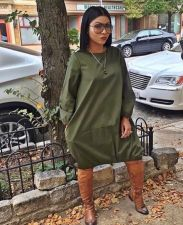 Plus Size Solid Long Sleeve Casual Loose Midi Dress LSL-8023