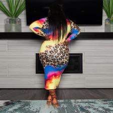 Plus Size 5XL Printed Full Sleeve Long Dress CYA-1424