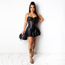 Sexy PU Leather Spaghetti Strap Mini Club Dresses AIL-152
