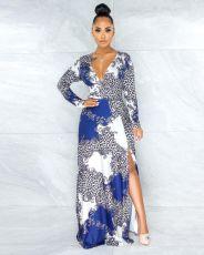 Elegant Long Sleeve Print Banquet Party Maxi Dress ANNF-6043