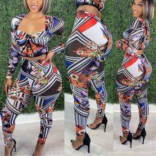 Fashion Print Long Sleeve Pants Two Piece Set NSFF-8028