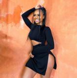 Tight Sexy Black Long Sleeve Split Mini Dress YIBF-6038