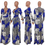 Elegant Long Sleeve Print Banquet Party Maxi Dress ANNF-6043