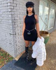 Black Simple Fashion Sexy Rib Sleeveless Slim Mini Dress KYF-3049