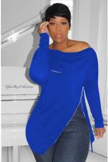 Plus Size Solid Irregular Zipper Long Sleeve Sweatshirt DYF-1002