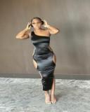 Sexy One Shoulder Hollow Bangdage Long Club Dress DYF-1046