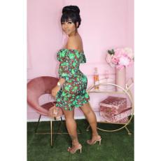Plus Size Floral Print Slash Neck Ruffled Mini Dress DYF-1021
