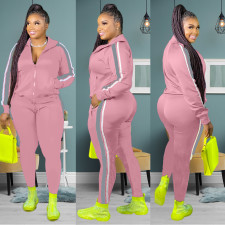 Plus Size Casual Striped Tracksuit Two Piece Pants Set DYF-1007
