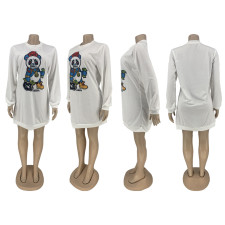 Cartoon Print Long Sleeeve O Neck Sweatshirt Dress ZNF-8012