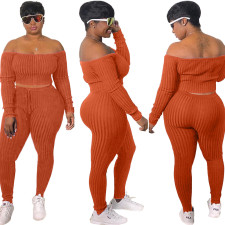 Plus Size Solid Slash Neck Long Sleeve 2 Piece Pants Set DYF-1001
