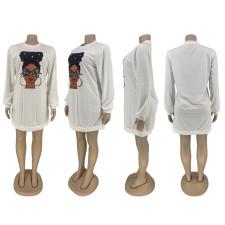Casual Printed Long Sleeve O Neck Sweatshirt Sress ZNF-8011